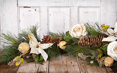 Christmas Flowers And Pine Branches On Wood Print by Jennifer Huls