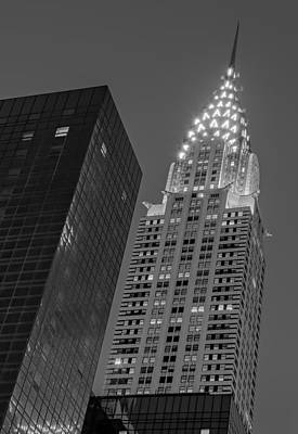Chrysler Building Twilight Bw Print by Susan Candelario