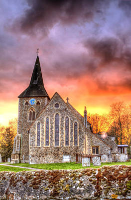Church And Graveyard At Dusk Print by Fizzy Image