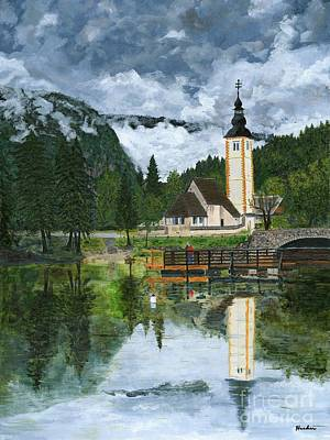 Church Reflections Painting Print by Timothy Hacker