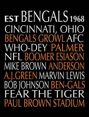 Cincinnati Bengals Print by Jaime Friedman