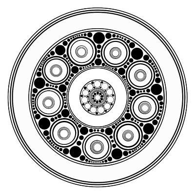Abstract Digital Painting - Circle Motif 138 by John F Metcalf