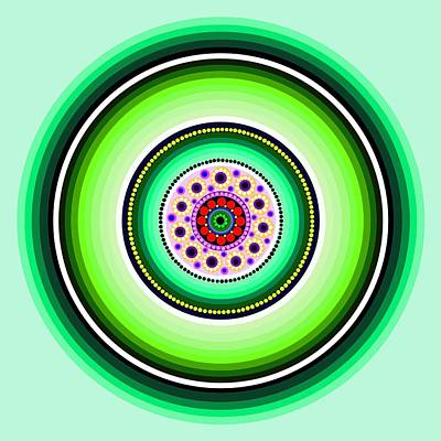 Abstract Digital Painting - Circle Motif 229 by John F Metcalf