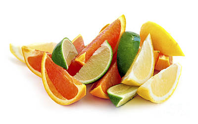 Natural White Photograph - Citrus Wedges by Elena Elisseeva