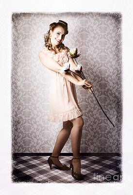 60s Photograph - Classic 60s Pinup Beauty Holding Ornate Flower by Jorgo Photography - Wall Art Gallery