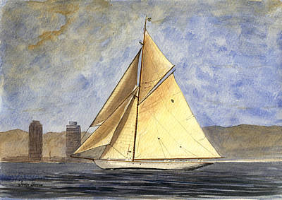 Barcelona Painting - Classic Yacht Barcelona by Juan  Bosco