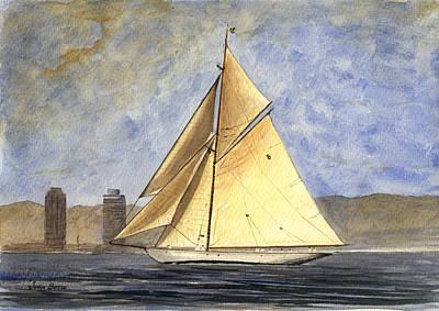 Classic Yacht Barcelona Print by Juan  Bosco