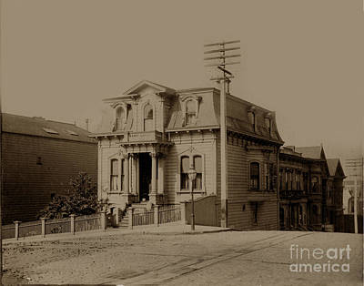 Clay And Hyde Street's San Francisco Built In 1874 Burned In The 1906 Fire Print by California Views Mr Pat Hathaway Archives