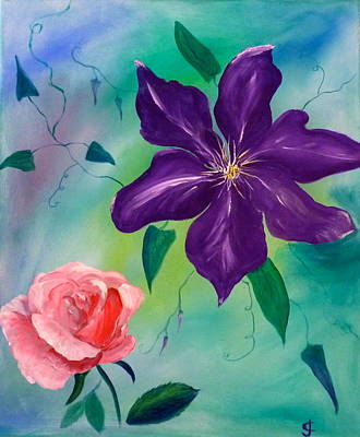 Clematis Painting - Clematis And The Rose by Jackie Curtis