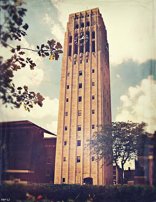 University Of Michigan Digital Art - Clock Tower by Phil Perkins