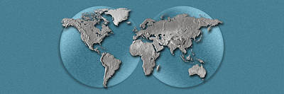 Global Photograph - Close-up Of A World Map by Panoramic Images