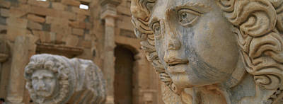 Roman Ruins Photograph - Close-up Of Statues In An Old Ruined by Panoramic Images