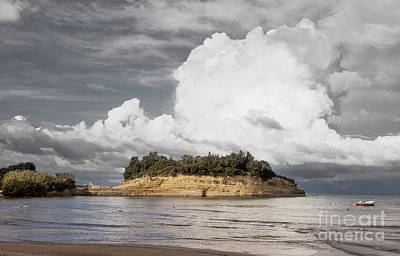 Cloud Boat And Cliffs On Corfu Print by Paul Cowan