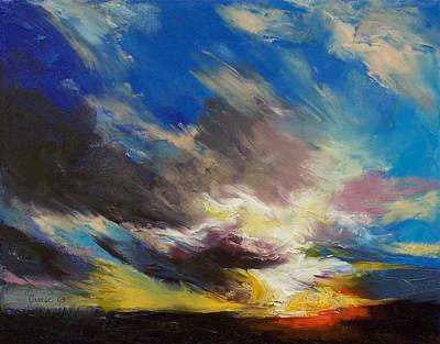 Sunrise Oil Painting - Cloudburst by Michael Creese