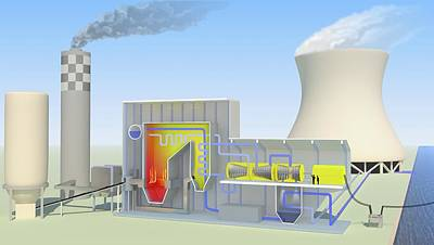 Coal-fired Power Station Print by Science Photo Library