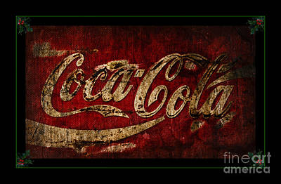 Weathered Coca Cola Sign Photograph - Coca Cola Christmas Holly by John Stephens