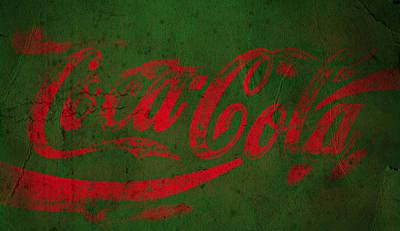 Coca Cola Grunge Red Green Print by John Stephens