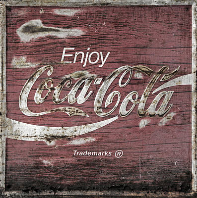 Weathered Coca Cola Sign Photograph - Coca Cola Pink Grunge Sign by John Stephens
