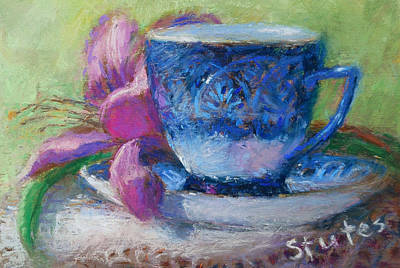 Rose Drawing - Coffee And Flowers by Nancy Stutes