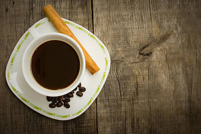 Pause Photograph - Coffee Cup With Beans And Cinnamon Stick by Aged Pixel