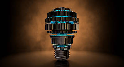 Isolated Digital Art - Cogwheel Lightbulb Shape Concept by Allan Swart