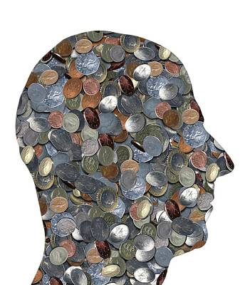 Coins In The Shape Of A Human Head Print by Victor De Schwanberg