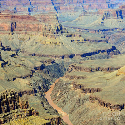Colorado Photograph - Colorado River Flowing Red Through Inner Gorge Grand Canyon National Park Square by Shawn O'Brien