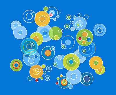 Colorful Abstract Painting - Colorful Circles by Frank Tschakert