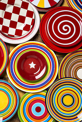 Platter Photograph - Colorful Plates by Garry Gay