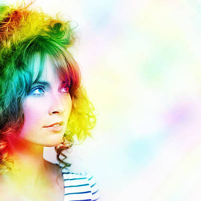 Hair Abstract Art Photograph - Colorful Woman Watching Colourful Rays Of Light by Jorgo Photography - Wall Art Gallery