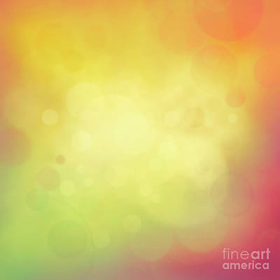 Colorful Yellow Bokeh Background Print by Mythja  Photography