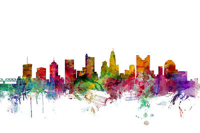 Columbus Ohio Skyline Print by Michael Tompsett