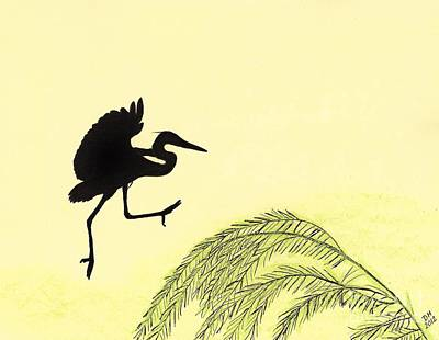 Egret Drawing - Coming In For A Landing by D Hackett
