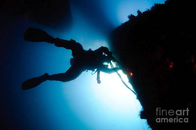 Diving Helmet Photograph - Commercial Diver At Work by Hagai Nativ