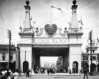 B Photograph - Coney Island - Luna Park Entrance by MMG Archives