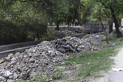 Construction Debris On Both Sides Of A Drain In The Delhi Zoo Print by Ashish Agarwal