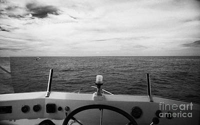 Controls On The Flybridge Deck Of A Charter Fishing Boat In The Gulf Of Mexico Out Of Key West Flori Print by Joe Fox