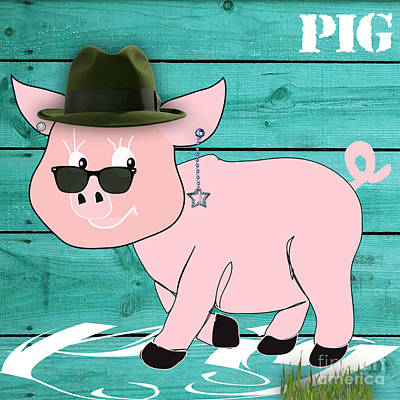 Pink Mixed Media - Cool Pig Collection by Marvin Blaine
