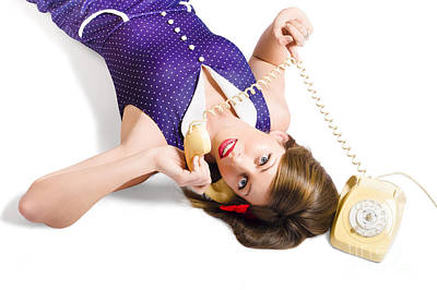 Cool Pin-up Girl Making Conversation On Telephone Print by Jorgo Photography - Wall Art Gallery