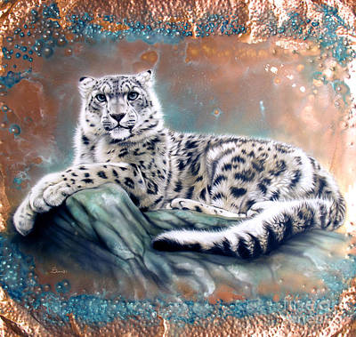 Patina Painting - Copper Snow Leopard by Sandi Baker