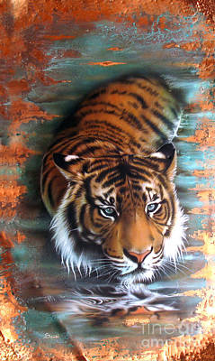 Patina Painting - Copper Tiger II by Sandi Baker