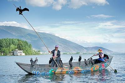 Cormorant Fishing In China Print by Tony Camacho