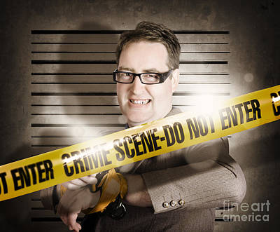 Corrupt Business Man Behind Crime Scene Tape Print by Jorgo Photography - Wall Art Gallery
