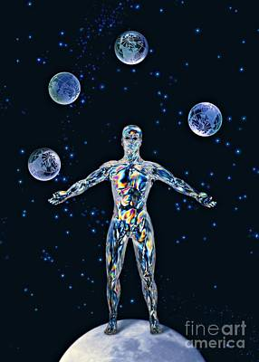 Cosmic Man Juggling Worlds, Artwork Print by Paul Biddle