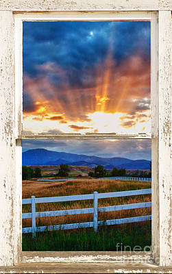 Country Beams Of Light Barn Picture Window Portrait View  Print by James BO  Insogna