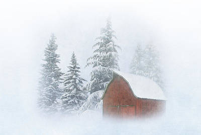 Red Barn In Winter Photograph - Country Winter-2 by Angie Vogel