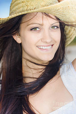Youthful Photograph - Country Woman In Cowgirl Hat by Jorgo Photography - Wall Art Gallery