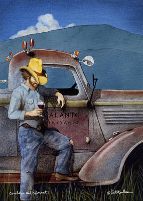 Old Trucks Painting - Cowboys And Cabernet... by Will Bullas