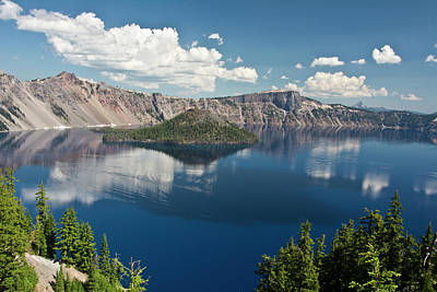 Crater Lake And Wizard Island, Crater Print by Michel Hersen