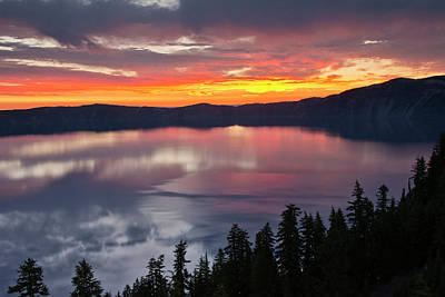 Crater Lake At Sunrise, Crater Lake Print by Michel Hersen